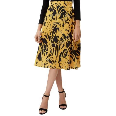 Jaeger Black/Gold Leaf A-Line Skirt
