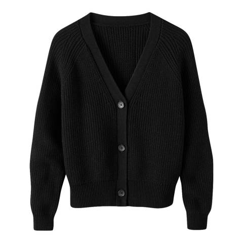 Pure Collection Black Ribbed Relaxed Cardigan