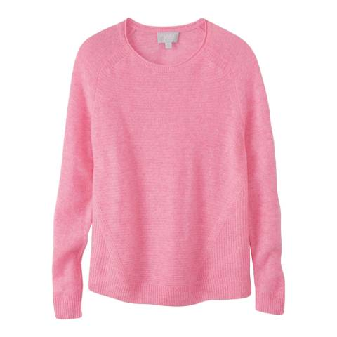 Pure Collection Pink Gassato Soft Textured Rib Jumper