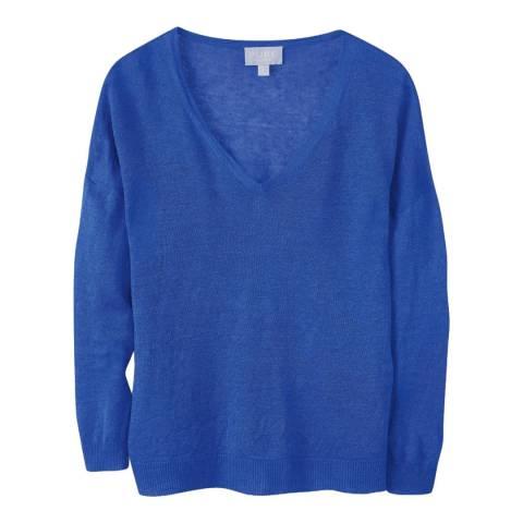 Pure Collection Blue Linen V-Neck Jumper