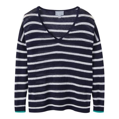 Pure Collection Navy/White Linen V-Neck Sweater