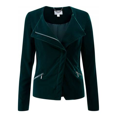 Pure Collection Green Velvet Biker Jacket
