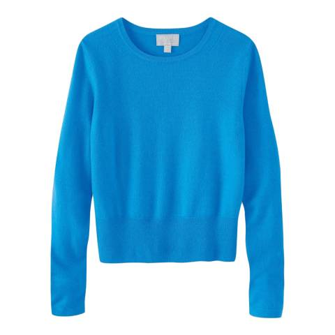 Pure Collection Blue Cashmere Cropped Jumper