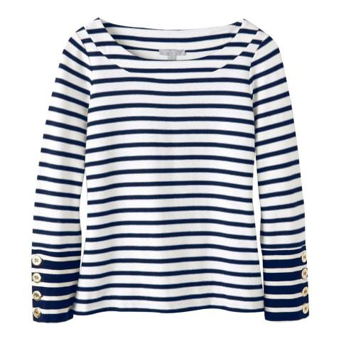 Pure Collection Navy Stripe Heavy Jersey Button Cuff Top