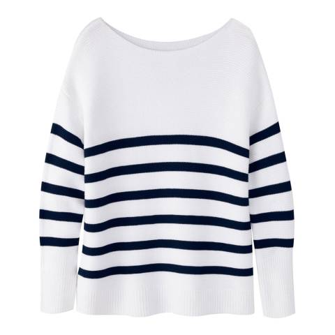 Pure Collection White/Navy Stripe Cotton Textured Jumper