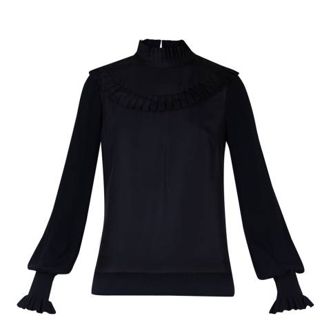 Ted Baker Black Frill Bib High Neck Long Sleeve Top