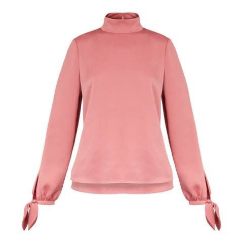Ted Baker Pink High Neck Sleeve Tie Top