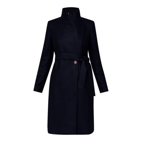 Ted Baker Navy Kikiieo Long Wrap Coat