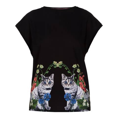 Ted Baker Navy Florence Woven Front T-Shirt