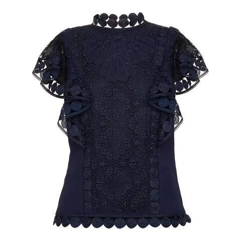 Ted Baker Navy Mixed Lace Frill Sleeve Top