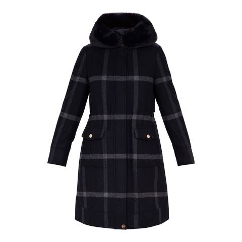 Ted Baker Check Ohna Checked Wool Blend Parka