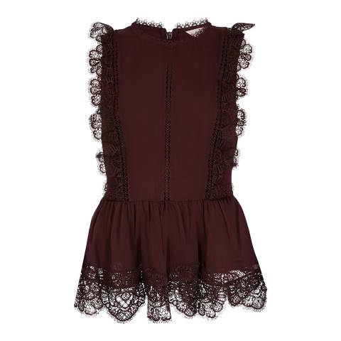 Ted Baker Dark Purple Lace Peplum Top