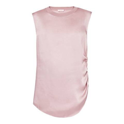 Ted Baker Pink Ruched Side Woven Trim Top