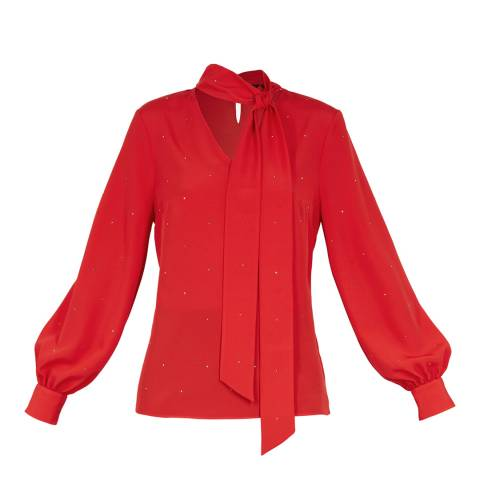 Ted Baker Red Sparkle Tie Neck Blouse