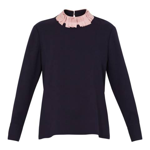 Ted Baker Navy/Pink Wilmma Ruffle Collar Drop Hem Top
