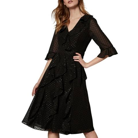 Ted Baker Black V Neck Ruffle Fluted Sleeve Dress