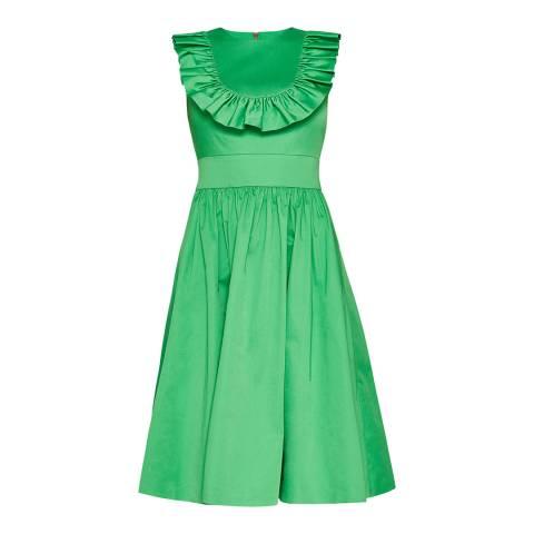 Ted Baker Green A-Line Ruffle Bib Midi Dress