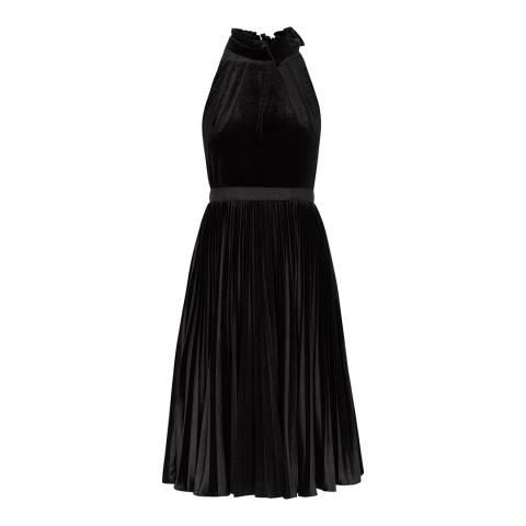 Ted Baker Black Pleated Velvet Midi Dress