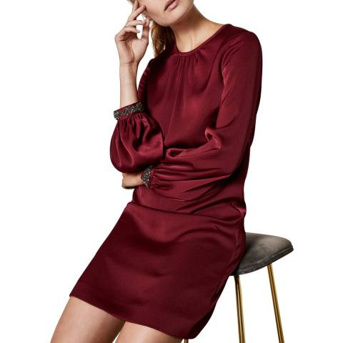 Ted Baker Dark Red Embellished Cuff Tunic