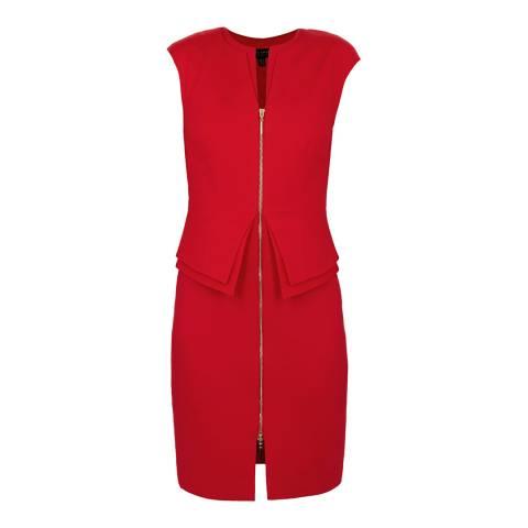 Ted Baker Red Structured Zip Peplum Dress