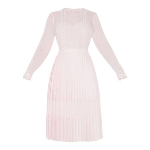 Ted Baker Pink Lace Trim Pleated Midi Dress