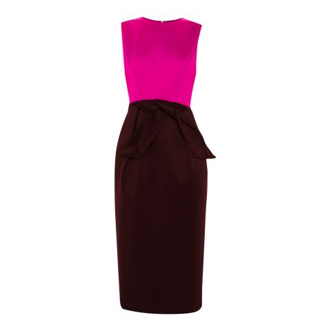 Ted Baker Purple Contrast Tulip Bow Midi Dress