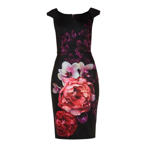 Ted Baker Black/Multi Splendour Print Bodycon