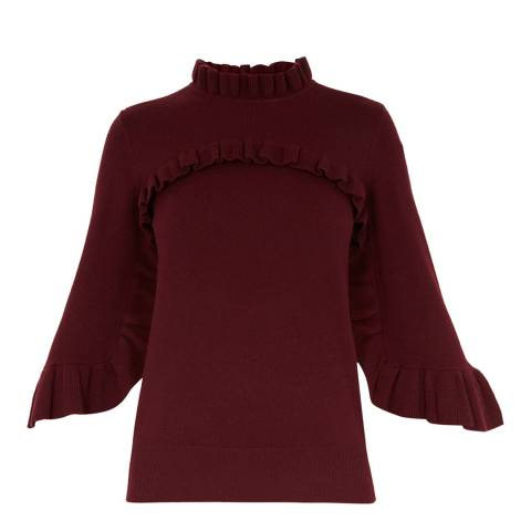 Ted Baker Purple Frill Detail Bell Sleeve Jumper
