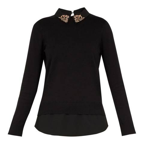 Ted Baker Black Embellished Collar Jumper