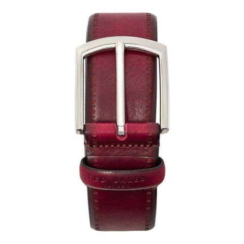 Ted Baker Red Burnished Leather Lillies Belt