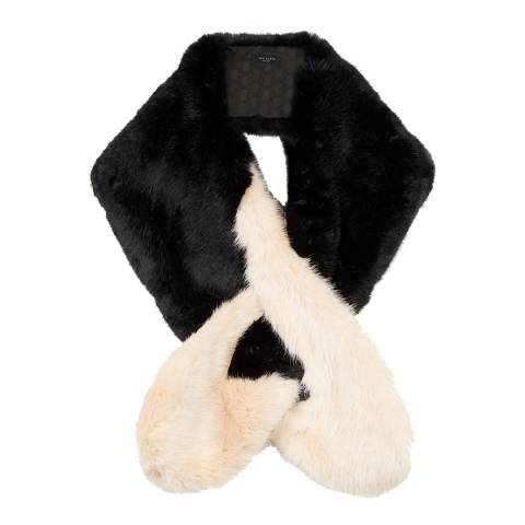 Ted Baker Black Cream Avril Two Tone Faux Fur Scarf