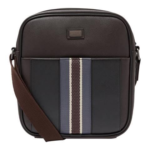 Ted Baker Dark Brown Lacross Webbing Detail Flight Bag