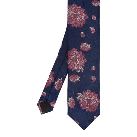 Ted Baker Navy Blue Floral Jacquard Silk Tie