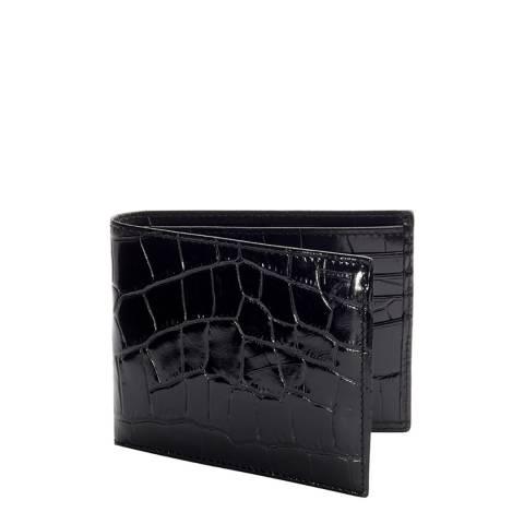 Aspinal of London Black Croc 8 Card Billfold Wallet