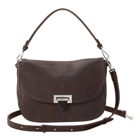Aspinal of London Slouchy Saddle Bag Smokey Grey Nubuck