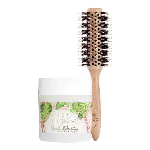 Philip Kingsley Elderflower & Rhubarb Elasticizer & Radial Brush Duo WORTH £54