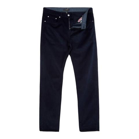 Ted Baker Navy Straight Fit 5 Pocket Cord Trousers