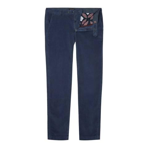 Ted Baker Blue Slim Fit Cotton Blend Trouser