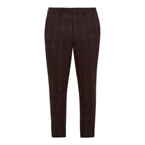 Ted Baker Dark Red Wool Blend Check Trousers