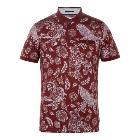 Ted Baker Red/Print Colabot Collared Cotton Polo