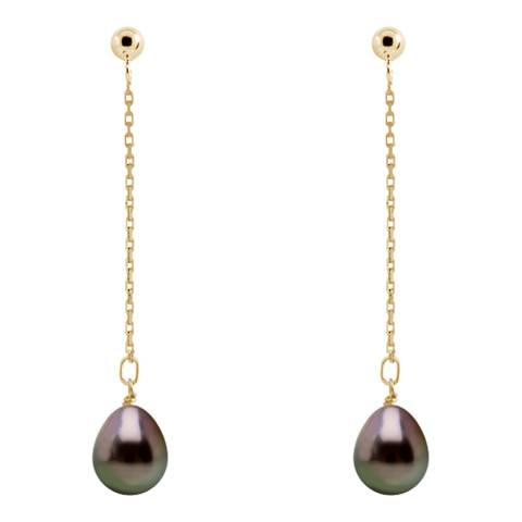 Ateliers Saint Germain Black Tahiti Pearl Yellow Gold Chain Earrings 8-9mm