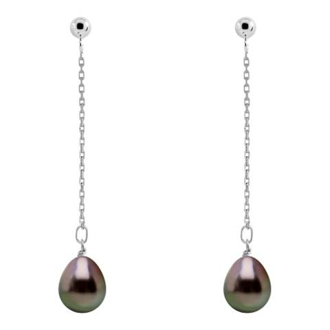 Ateliers Saint Germain Black Tahiti Pearl White Gold Chain Earrings 8-9mm