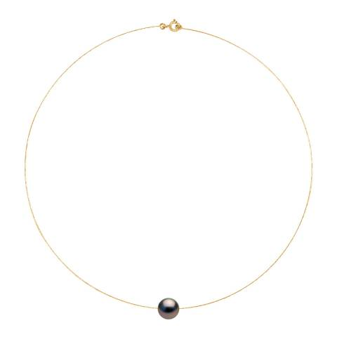 Ateliers Saint Germain Black Tahiti Pearl Round Yellow Gold Necklace 10-11mm