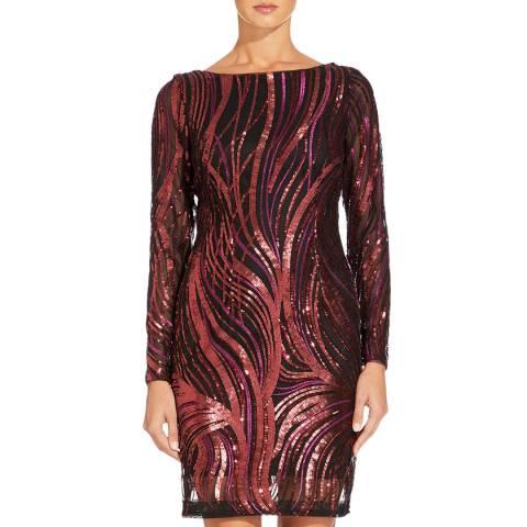 Aidan Mattox Crimson Embroidered Sequin Dress