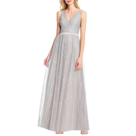Adrianna Papell Silver Beaded Sleeveless Dress