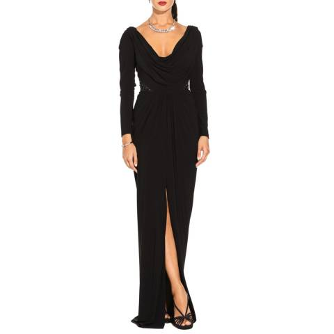 Adrianna Papell Black Embellished Long Jersey Dress
