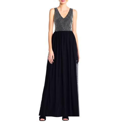 Adrianna Papell Black/Ivory Beaded Long Dress
