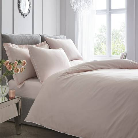 N°· Eleven Contrast Piping Double Duvet Cover Set, Blush/White