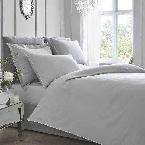 N°· Eleven Contrast Piping Double Duvet Cover Set, Silver/White