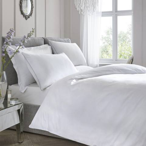N°· Eleven Contrast Piping Double Duvet Cover Set, White/Silver